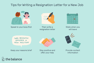 This illustration lists tips for writing a resignation letter for a new job including