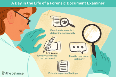 A day in the life of a forensic document examiner: Examine documents to determine authenticity, identify who made the document, provide courtroom testimony, produce reports of findings