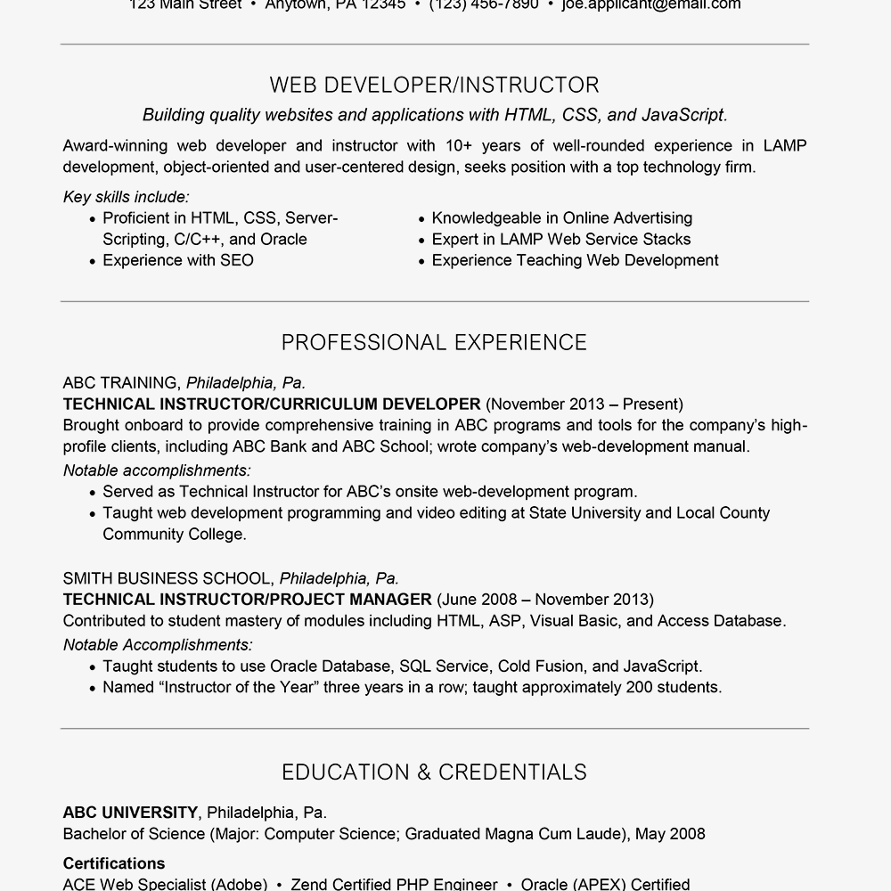 Web Developer Resume Example Text Version
