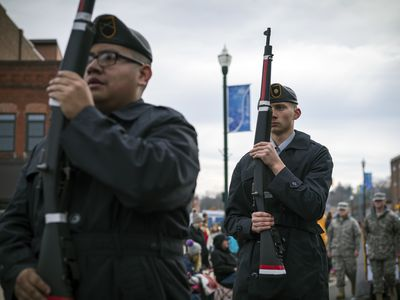 Army JROTC marching at Christmas parade in Johnson City, Tennessee