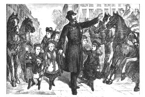 An illustration of a policeman directing traffic
