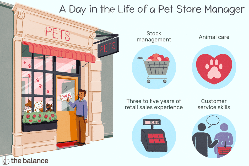 A day in the life of a pet store manager: Stock management, animal care, three to give years of retail sales experience, customer service skills