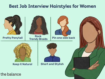 This illustration shows best job interview hairstyles for women including