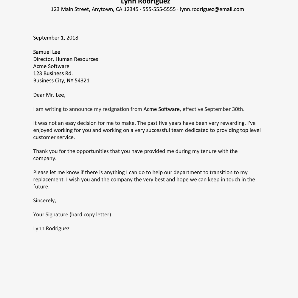 letter of intent to resign example text version