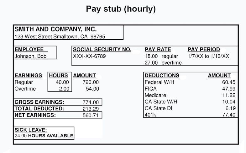 An example of a paystub for an electronic paycheck
