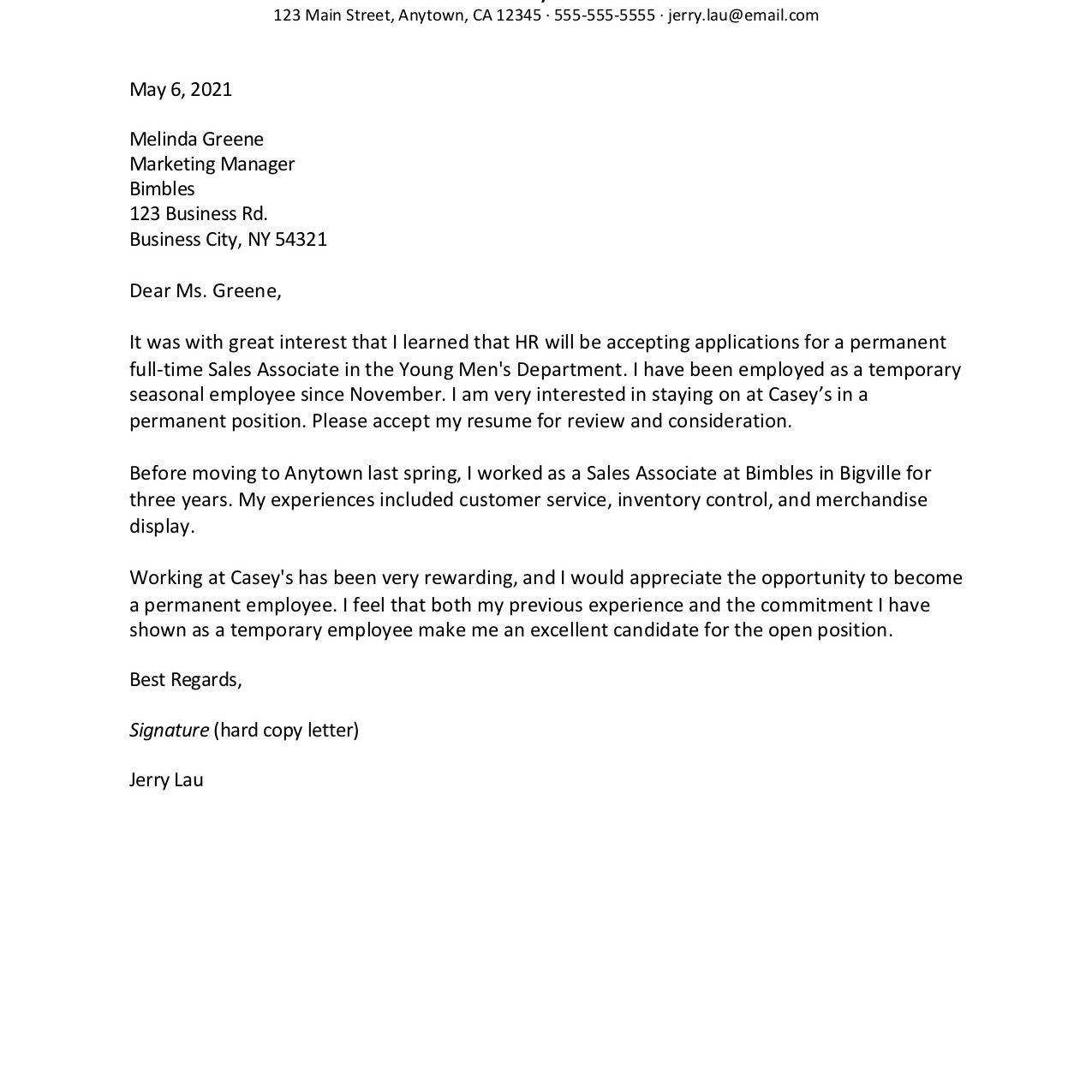 Screenshot of a permanent position request letter
