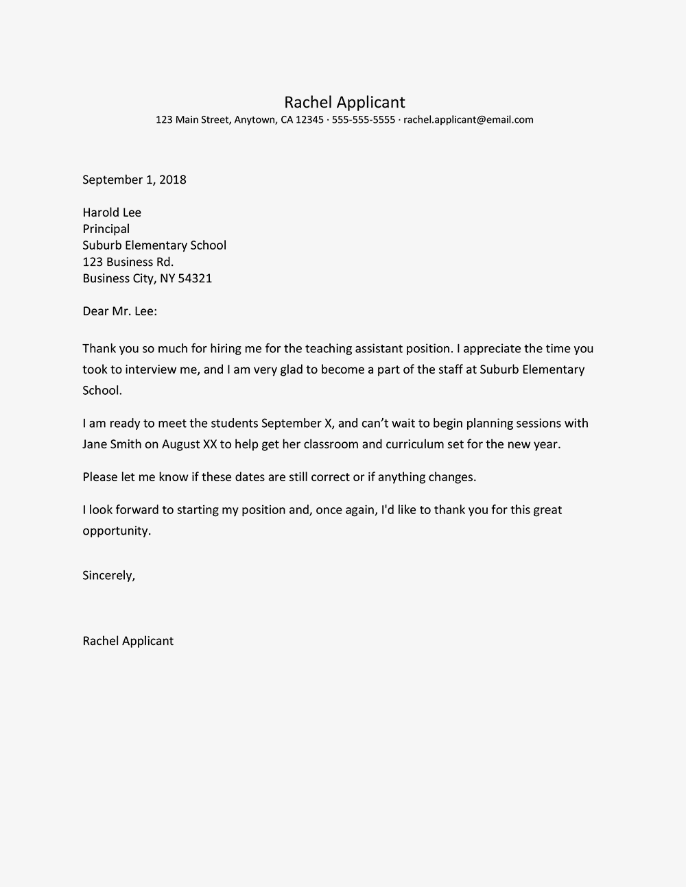 job offer thank you letter and email samples
