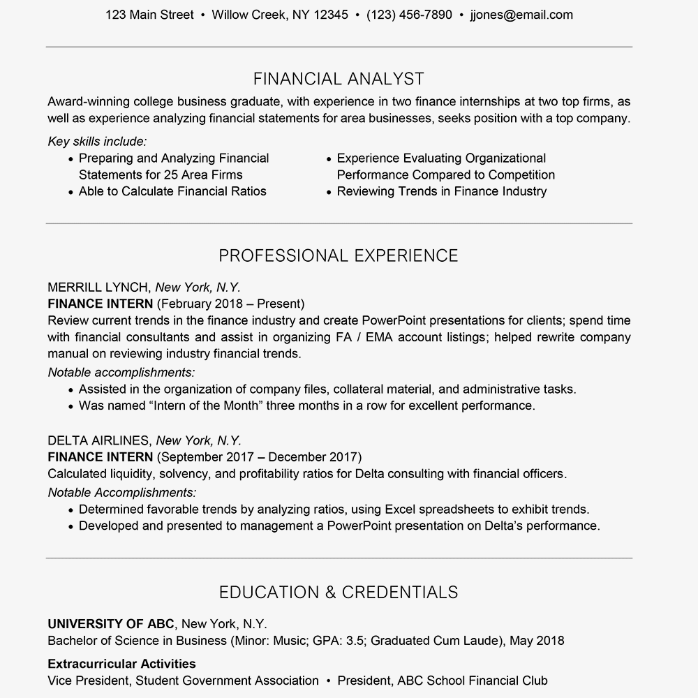 American financial resume