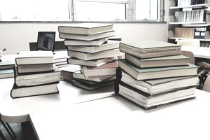 Textbooks on a table