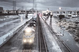Freight train on Los Angeles River mainline
