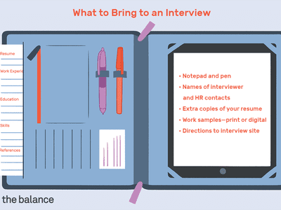 Custom illustration of what to bring to a job interview