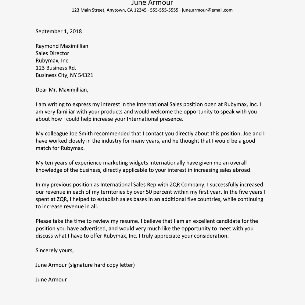 Cover Letter Referred by a Contact Examples