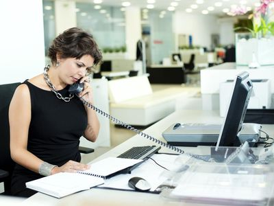 Receptionist on the phone in an office