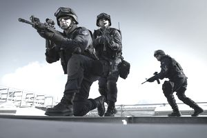 SWAT police unit with automatic rifles.