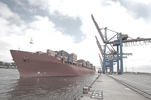 Freight ship on dock