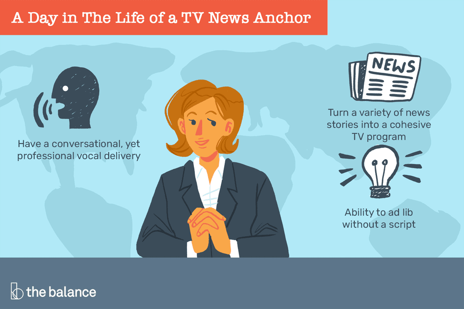 A day in the life of a TV news anchor: Have a conversational yet professional vocal delivery; turn a variety of news stories into a cohesive TV program; ability to ad lib without a script