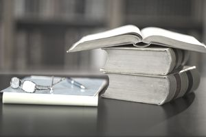 USA, New Jersey, Jersey City, books on desk in library