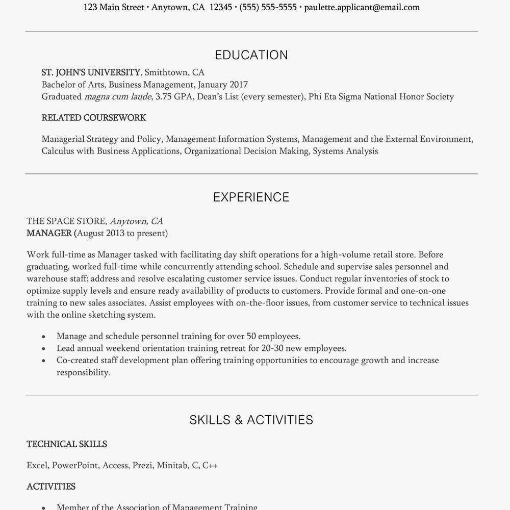 Screenshot Of An Entry Level Management Resume Example
