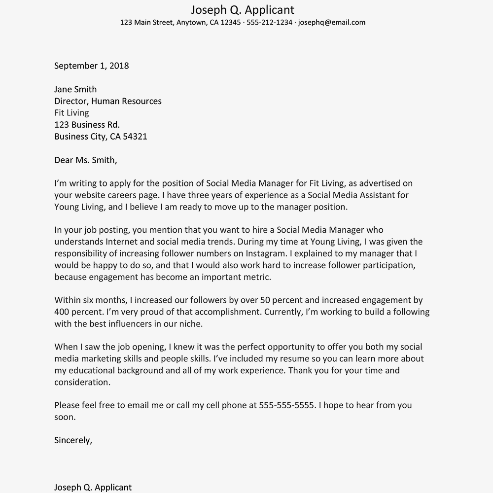 example cover letter for job free cover letter examples and writing tips 21543