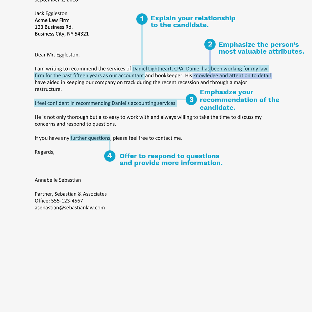 screenshot of a business reference letter recommending professional services