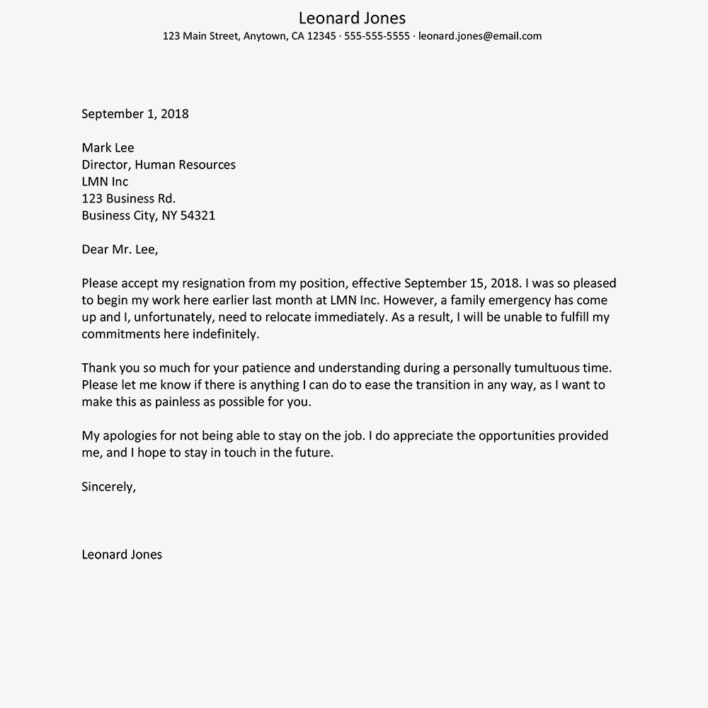screenshot of a resignation letter example from a new job