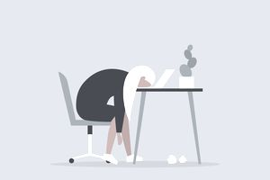 Illustration of a woman with her head on her computer keyboard, feeling unhappy at work.