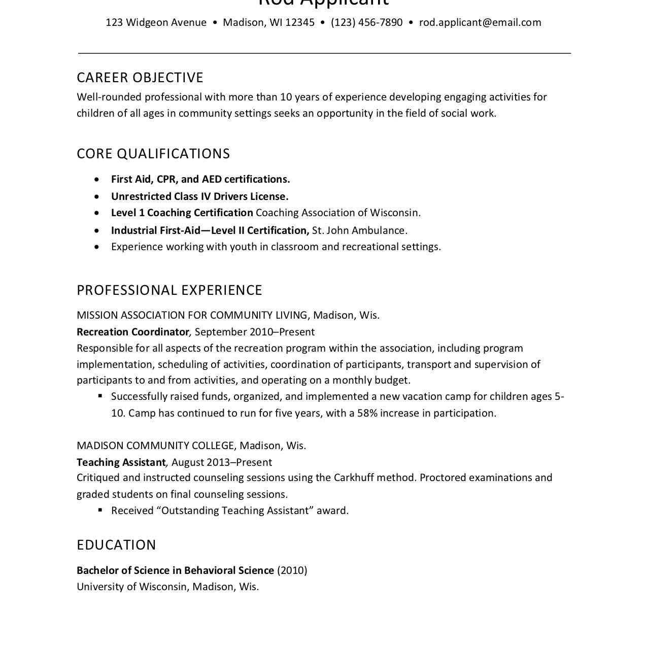 Resume Example For Childcare Social Services Worker