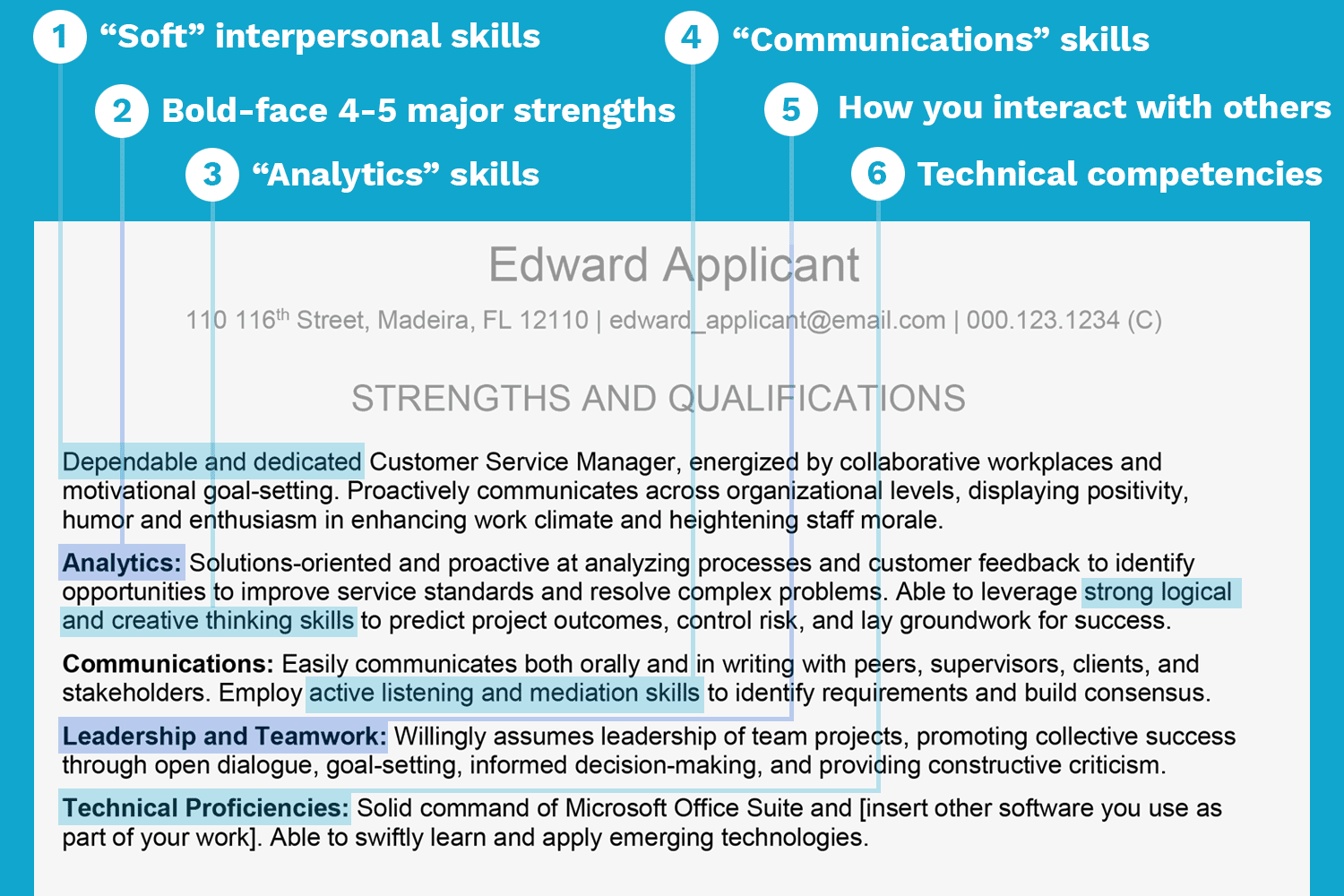screenshot of a resume with strengths and qualifications