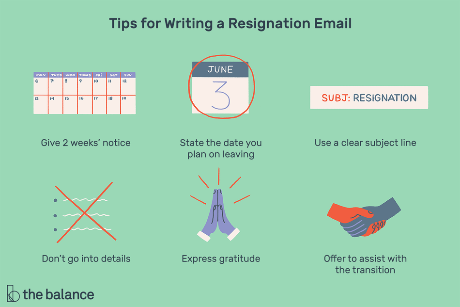 "Text reads: ""Tips for writing a resignation email: give 2 weeks' notice; state the date you plan on leaving; use a clear subject line; don't go into details; express gratitude; offer to assist with the transition"""