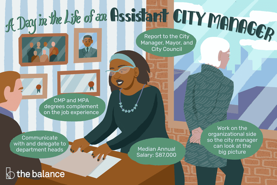 """Image shows a busy office with a city manager and assistant city manager hard at work. Text reads: """"A day in the life of an assistant city manager: communicate and delegate to department heads; cmp and mpa degrees complement on the job experience; report to the city manager, mayor, and city council; median annual salary: $87,000; work on the organizational side so the city manager can look at the big picture"""""""