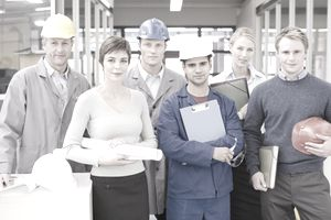 Workers with various jobs wear appropriate business attire within the guidelines of their dress code.