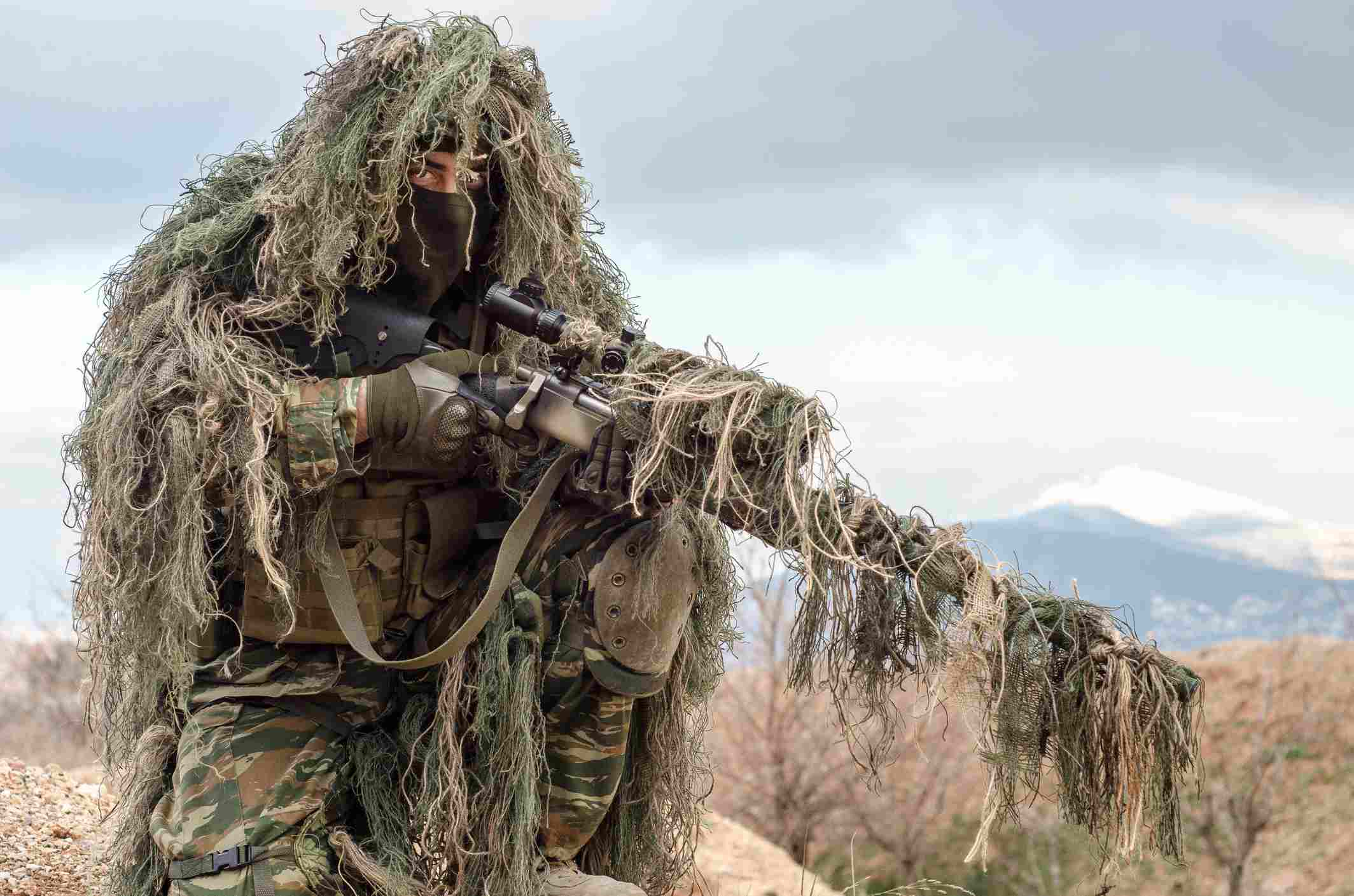 US Army soldier in Ghillie suit