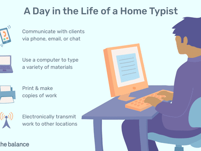 A day in the life of a home typist: Communicate with clients via phone, email, or chat, use a computer to type a variety of materials, print and make copies of work, electronically transmit work to other locations