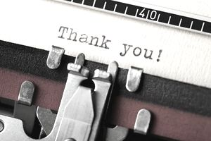 Thank you written on an old typewriter