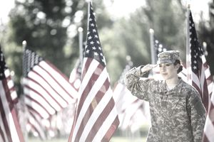 American Soldier saluting in front of American Flags