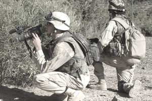A member of the Signal Corps shoots video