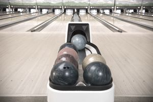 Bowling balls in bowling alley