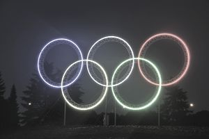 The lit Olympic rings at the Vancouver 2010 Games