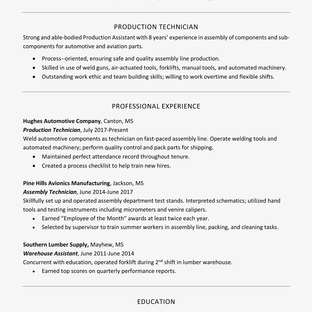 Resume Example (Text Version)