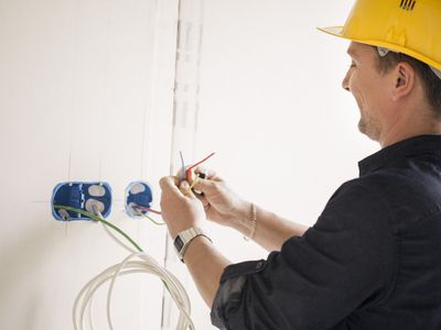 Electrician working at site