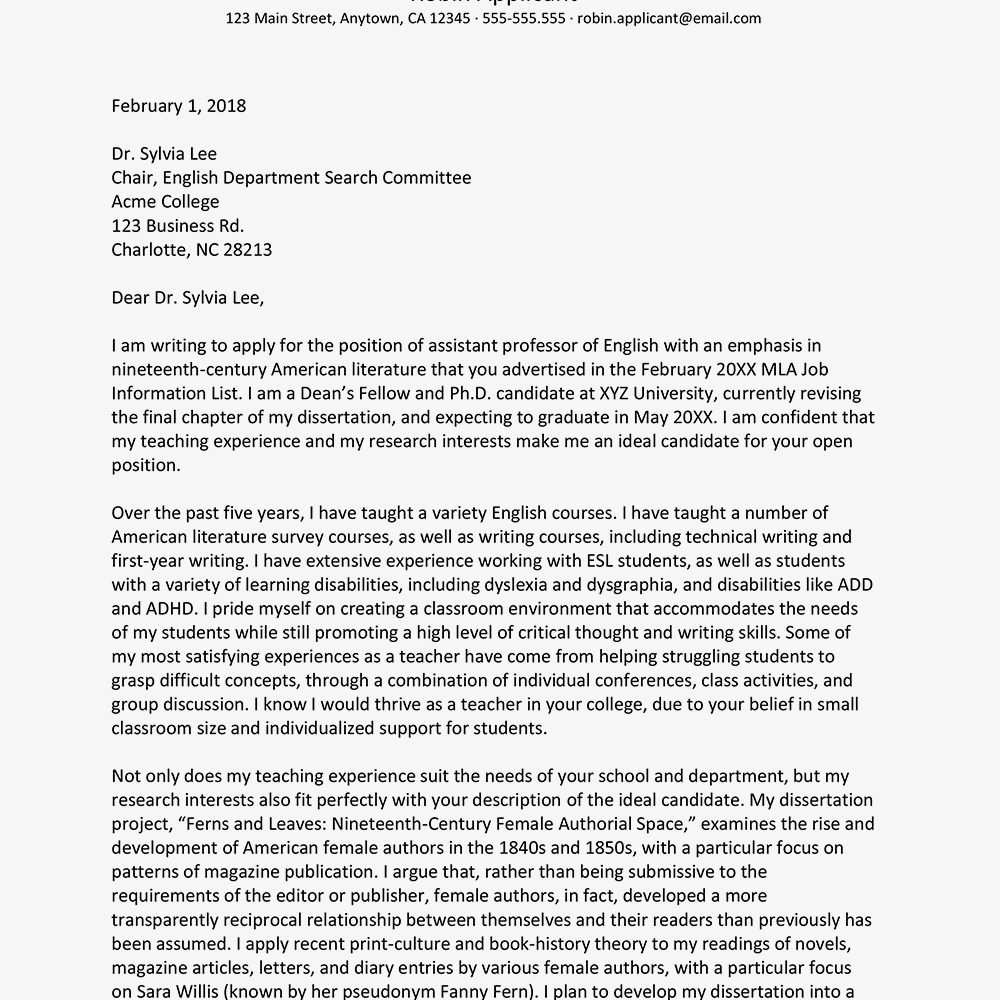 how to write an academic cover letter with examples academic cover letter sample