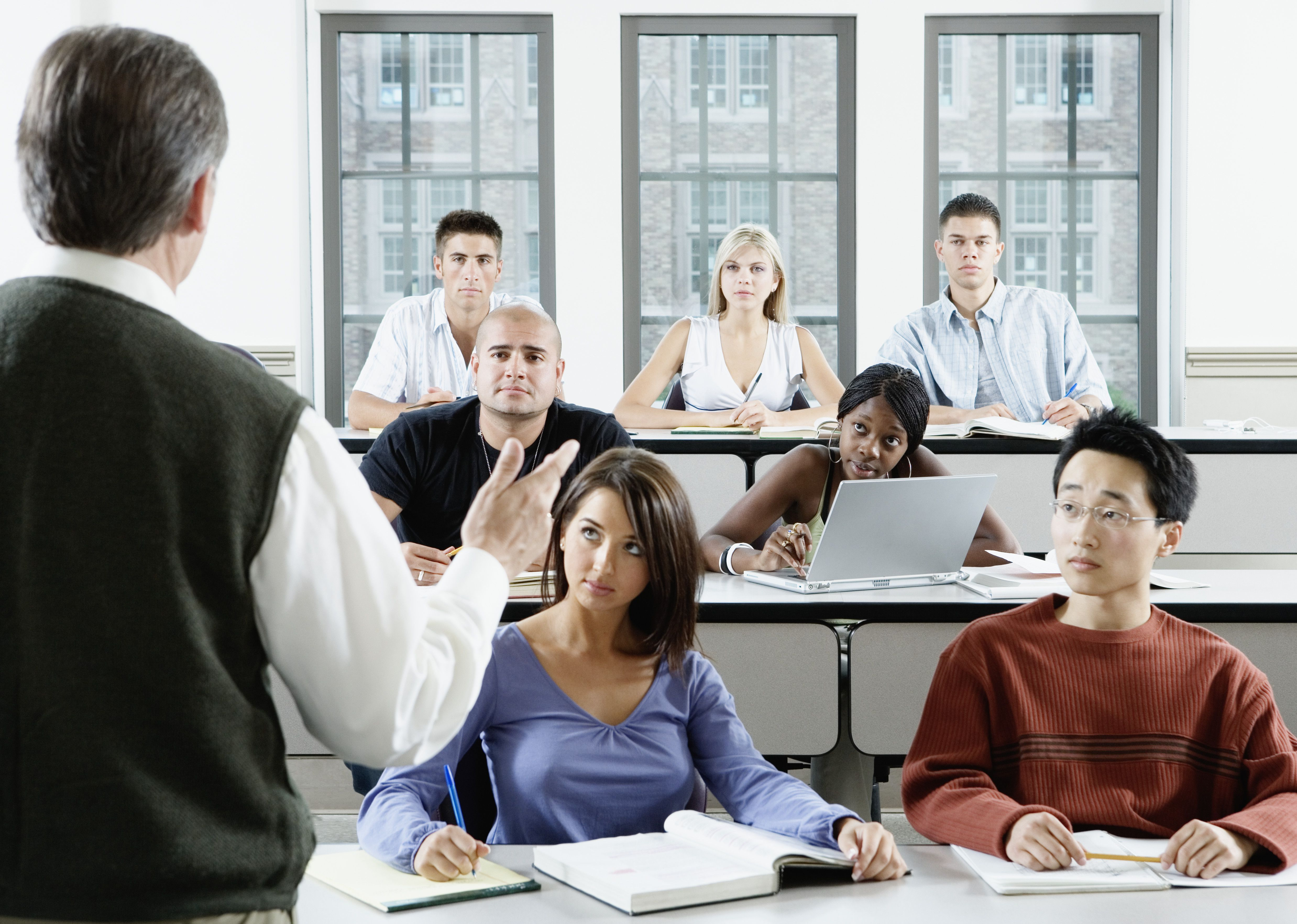 Education students in a college classroom.