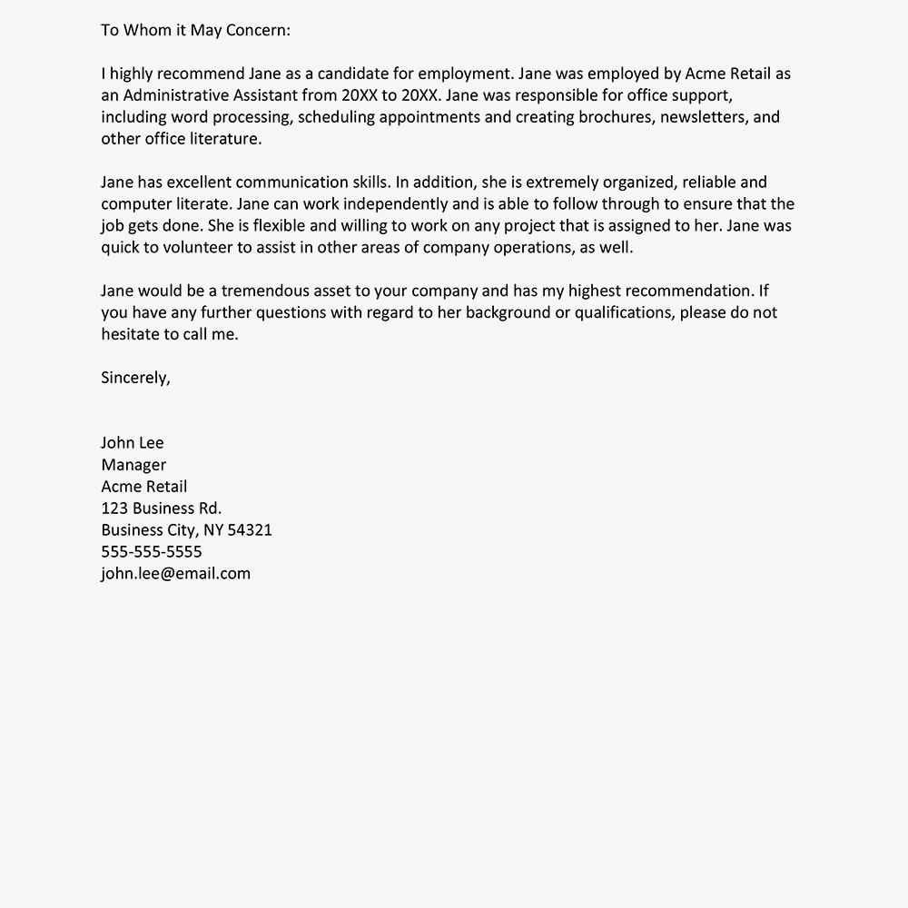sample reference letter from manager gallery letter format examples