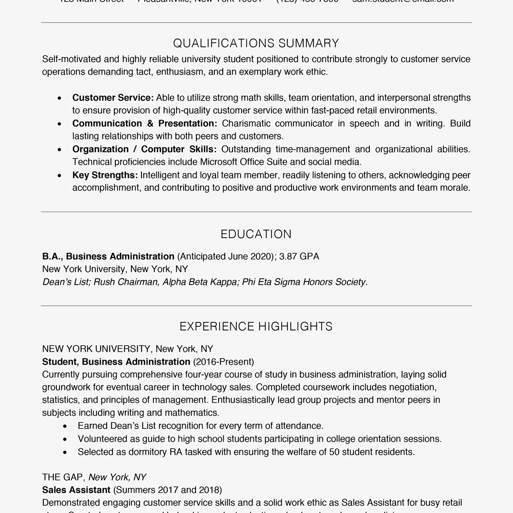 tips for writing your first resume