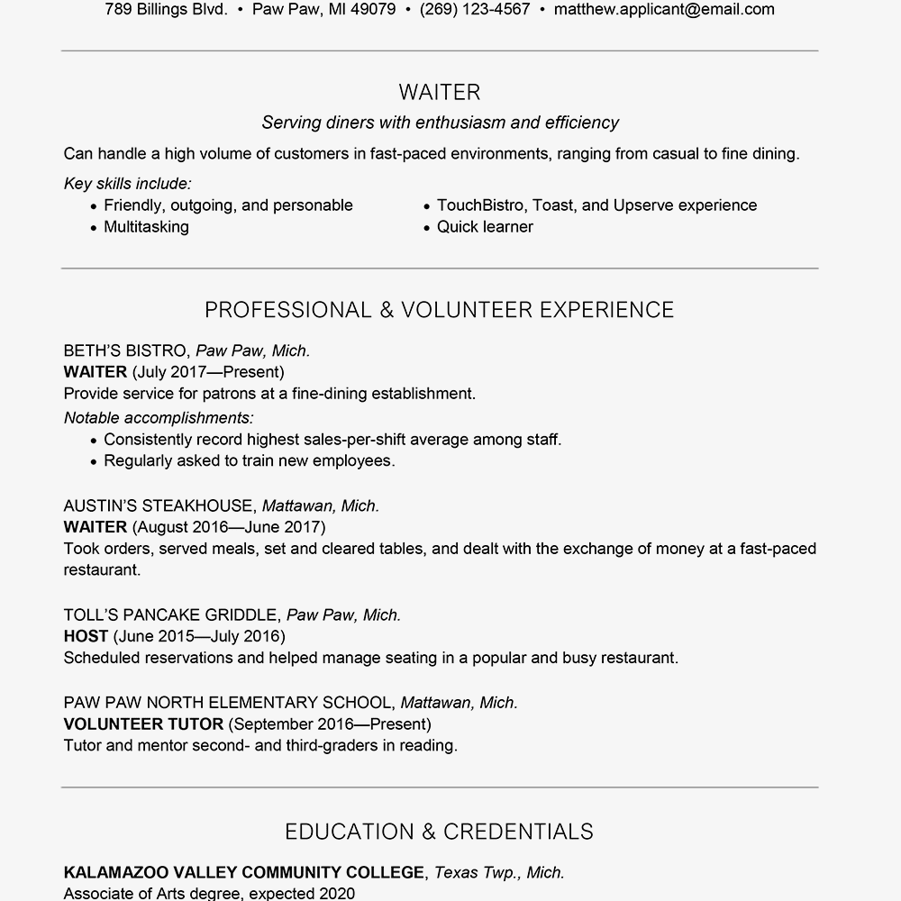 waiter  waitress resume and cover letter examples