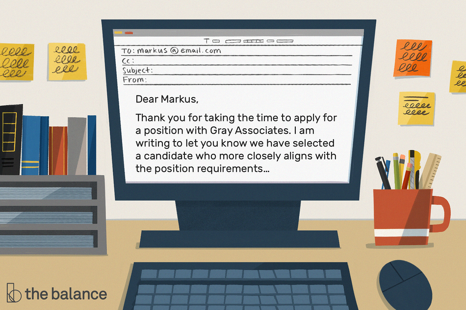 "Image shows a computer on an office desk. Text in the email reads ""Dear Markus, Thank you for taking the time to apply for a position with Gray Associates. I am writing to let you know we have selected a candidate who more closely aligns with the position requirements…"""