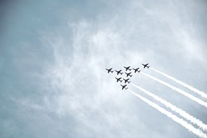 View of Air Force jets flying in formation against a blue sky