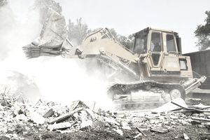 bulldozer removing debris