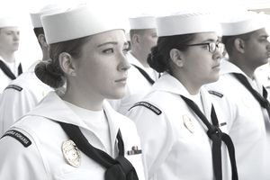U.S. Naval officers standing in a line