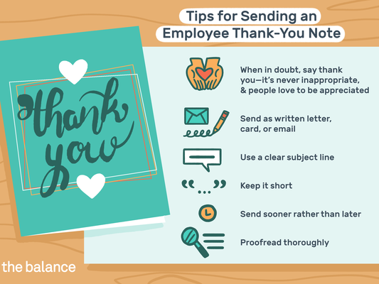 This illustration shows tips for sending an employee thank-you note including when in doubt, say thank you because it's never inappropriate and people love to be appreciated, send as written letter, card, or email, use a clear subject line, keep it short, send sooner rather than later, and proofread thoroughly